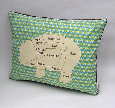 Pig Meat Chart Decorative Pillow