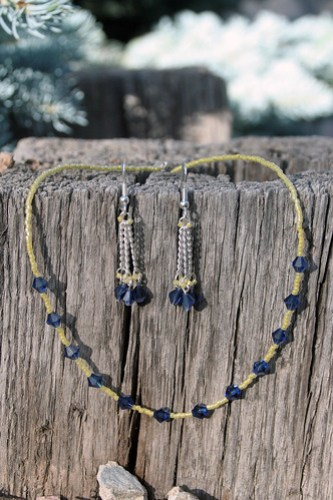 Navy and Yellow Necklace and Earrings