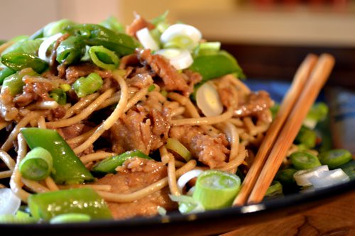 Stir-Fried Pork and Sugar Snaps with Soba Noodles | Full ...