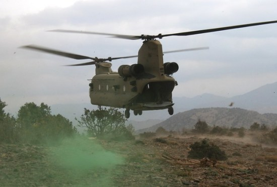 CH-47F lifts Fox Company into Bermel. David Axe photo.