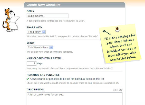 How to Create an Online Chore Chart in FamZoo