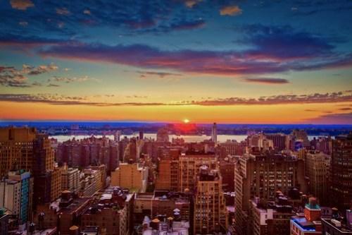 New York Skyline Sunset