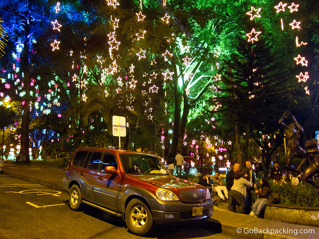 Christmas lights in Parque Lleras