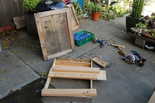 Old shipping crate deconstructed.