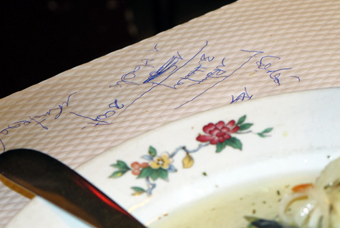 tablecloth writing