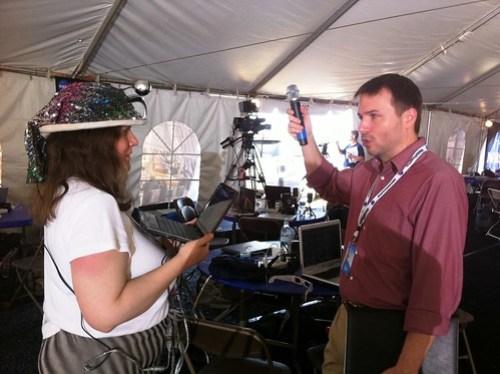 NASA Tweetup Participant Heather Good with NASA Tweetup Team Member John Yembrick