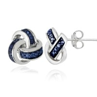 925 Silver Treated Blue Diamond Accent Love Knot Stud ...