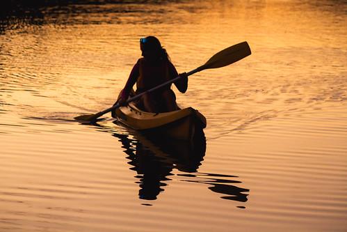 Sunset kayaking on Roseberry Lake