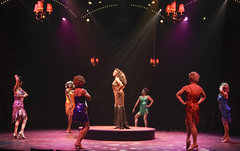 (Center) Alan Mingo, Jr. and Les Cagelles in La Cage aux Folles, produced by Music Circus at the Wells Fargo Pavilion August 19-24, 2014. Photos by Charr Crail.