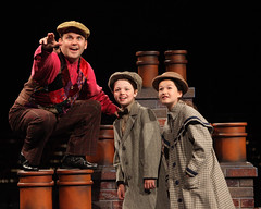 (L to R) Robert Creighton (Bert), Ben Ainley-Zoll (Michael Banks) and Noa Solorio (Jane Banks) in Mary Poppins, produced by Music Circus at the Wells Fargo Pavilion July 8 - 13, 2014. Photos by Charr Crail.