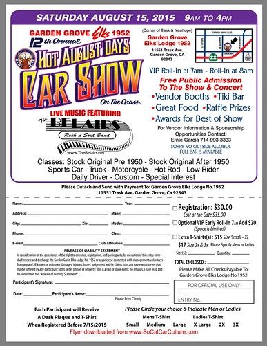 "GARDEN GROVE CA USA - ""Hot August Days Car Show"" Saturday, August 15 - 9AM to 4PM - free public admission to the show and concert - vendor booth, tiki bar , great food, raffle , prizes, Award for best of show - credit : www.SoCalCarCulture.com • <a style=""font-size:0.8em;"" href=""http://www.flickr.com/photos/134158884@N03/20367018178/"" target=""_blank"">View on Flickr</a>"