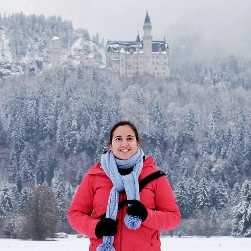 Snowy Neuschwanstein Castle in Germany