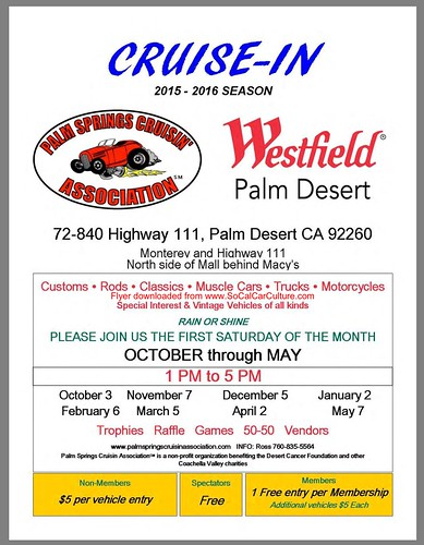 "PALM DESSERT CA USA - USA "" Cruisen Westfield"" December 5, Saturday - 1pm to 5pm - Free to spectator  - Credit: www.SoCalcarculture.com • <a style=""font-size:0.8em;"" href=""http://www.flickr.com/photos/134158884@N03/23222112070/"" target=""_blank"">View on Flickr</a>"
