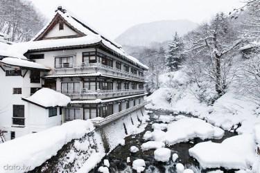 [群馬溫泉3-1]寶川溫泉(宝川温泉):汪泉閣。雪景如畫