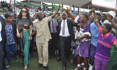 """Governor Adams Oshiomhole of Edo State and his wife, Iara, at the Ogbemudia Stadium to celebrate  Nigeria's 56th Independence Anniversary, Saturday. • <a style=""""font-size:0.8em;"""" href=""""http://www.flickr.com/photos/139025336@N06/29498336114/"""" target=""""_blank"""">View on Flickr</a>"""