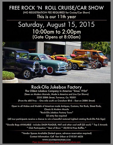 "TORRANCE CA USA - ""11th Rock-Ola Juke Box Factory Cruise and Car Show"" Saturday, August 15 8AM-2PM - open for factory tour - credit: www.SoCalCarCulture.com • <a style=""font-size:0.8em;"" href=""http://www.flickr.com/photos/134158884@N03/20546234832/"" target=""_blank"">View on Flickr</a>"