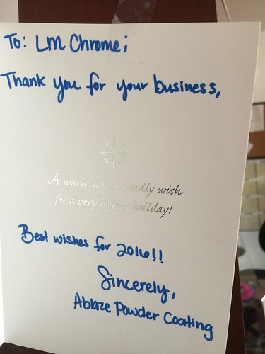 """Thank you to our LM Chrome Corp vendors and customers for these 2015 holiday cards. We feel appreciated. • <a style=""""font-size:0.8em;"""" href=""""http://www.flickr.com/photos/134158884@N03/23819372251/"""" target=""""_blank"""">View on Flickr</a>"""