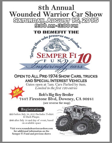 """DOWNEY CA USA - """"8th Annual Wounded Warrior Car Show"""" Saturday, August 15 - 9AM - 3PM - Open to all pre-1974 show cars trucks and special interest vehicles - credit: www.SoCalCarCulture.com • <a style=""""font-size:0.8em;"""" href=""""http://www.flickr.com/photos/134158884@N03/19933920623/"""" target=""""_blank"""">View on Flickr</a>"""