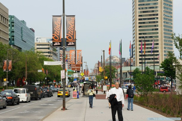 Pratt Street in Baltimore in spring