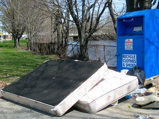 gee, harold, i don't think the mattress and boxspring will fit down the recycle bin chute