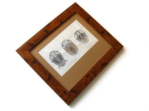 trilobite cross stitch sampler