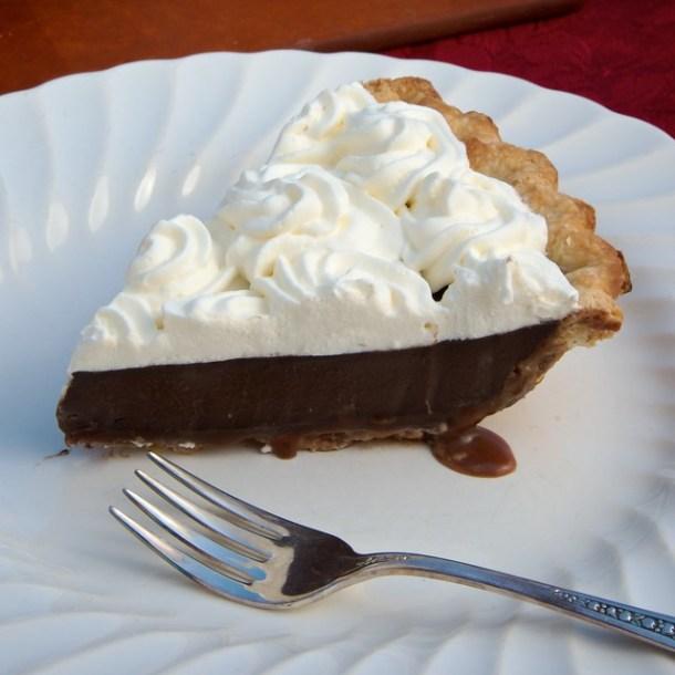 Caramel-Bottomed Guinness Chocolate Pie