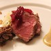 Dan Walker's chilled striploind with rosemary and mustard, vanilla braised short rib, potato-parsnip salad dressed in leek-flavoured buttermilk.  Delicious marma made of red onion and cherry, too