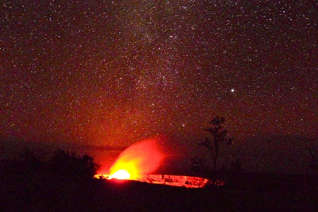 Car Sunset Wallpaper Stars And The Glow Over The Halemaumau Crater Of The