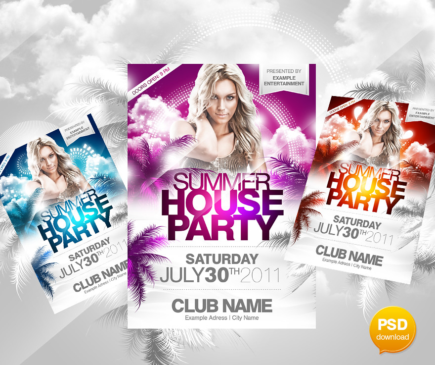 Summer House Party Flyer PSD Template Party Flyer Template\u2026 Flickr