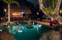 Lagoon Swimming Pool Christmas Party with Grotto Waterfall ...