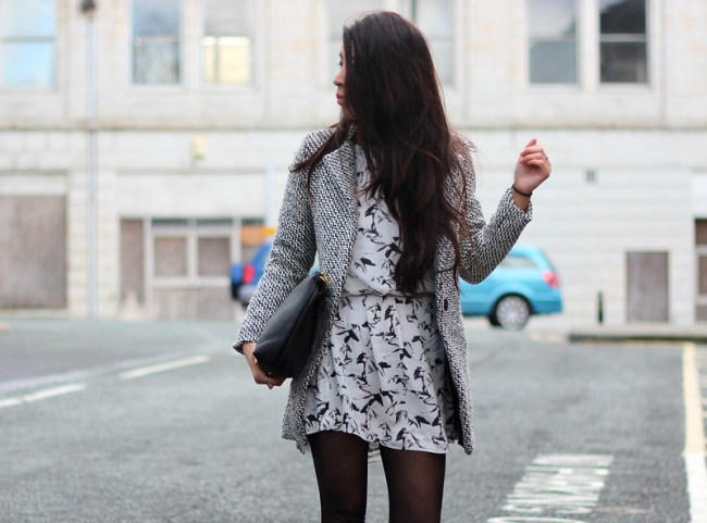 Article 21 UK Fashion & Style Blog, Sheinside Grey Coat, French Connection White Horse Dress, white horse dress, black clutch, what to wear to work, long wavy hair, uk fashion blogger, top uk blogs, best uk fashion blogs, british fashion blogs, uk chinese blogger, manchester fashion blogger