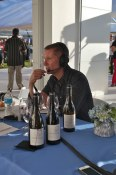 Painted Rock proprietor John Skinner doing a radio interview at the opening of his new tasting room