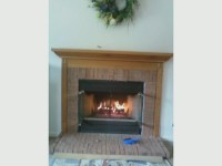 gas fireplace install brick surround and mantel | Flickr ...