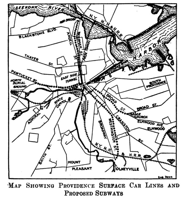 Proposed Providence Subway Map - 1914