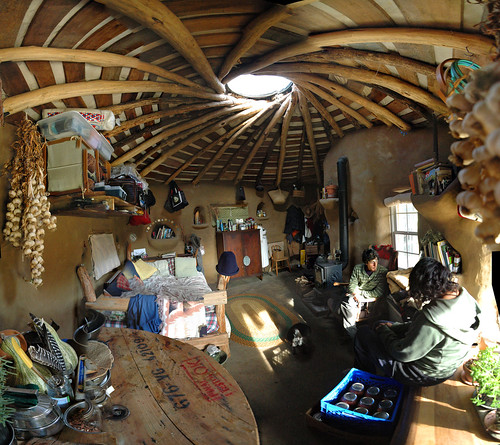 Cob house panorama interior