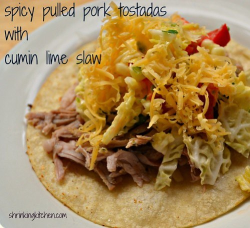 Slow Cooker} Spicy Pulled Pork Tostadas with Lime Cumin Slaw ...