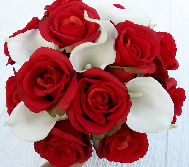 Realistic red rose white calla lily bridal bouquet a