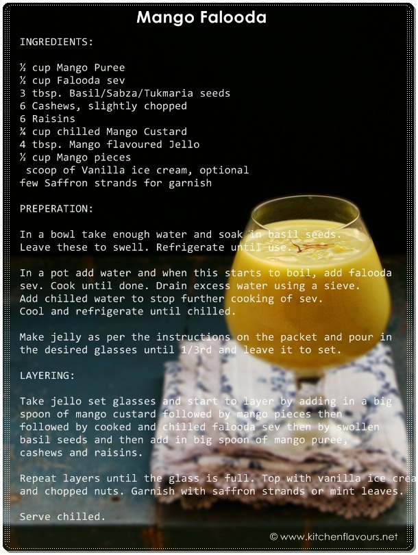 Mango Falooda/Faluda - Recipe Card