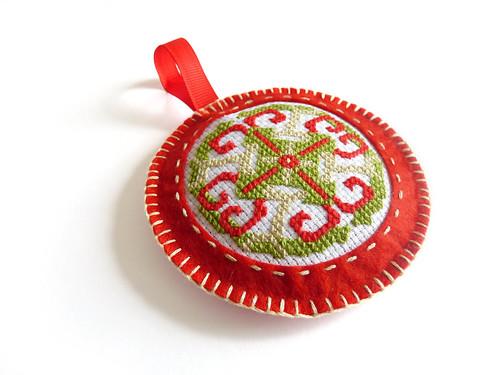 felt Christmas bauble with cross stitch motif