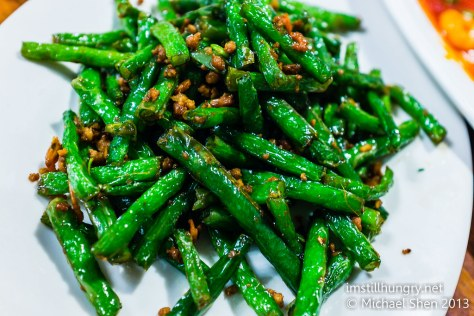 Stir fried green beans w/pork mince Taste of Shanghai