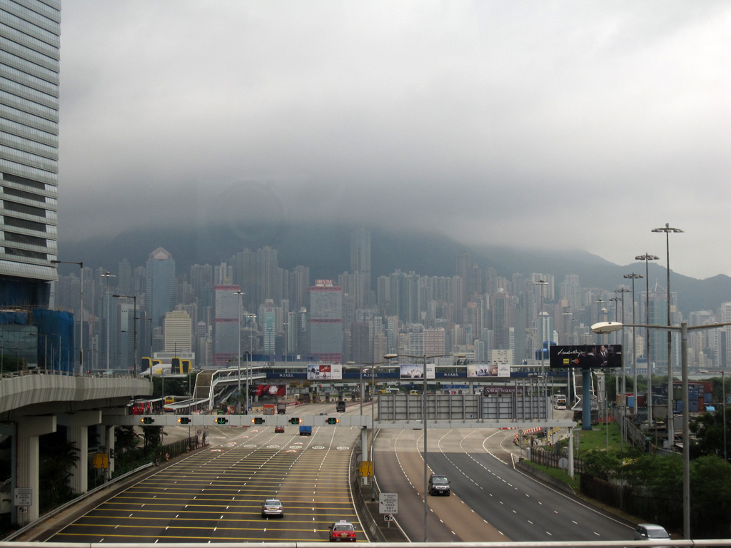 Coming into Hong Kong on a bus