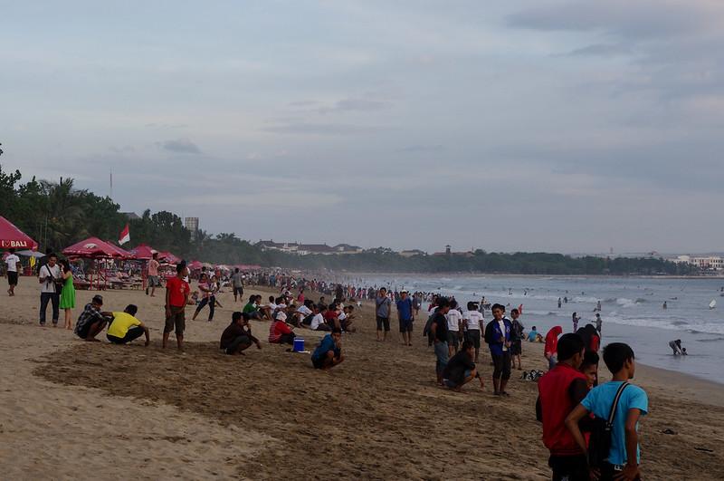 Locals took over Kuta Beach at sunset