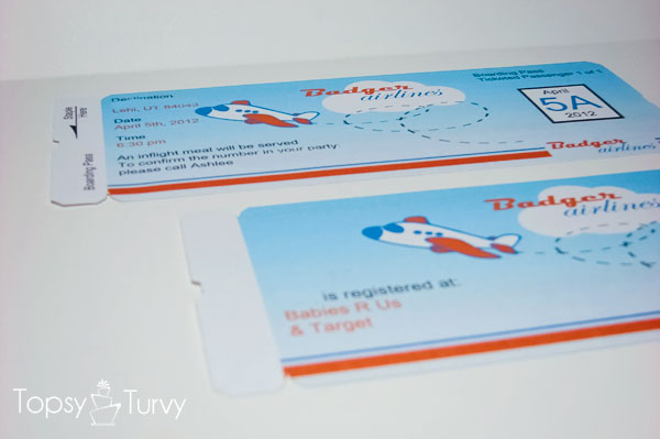 Airplane baby shower boarding pass invitations Ashlee Marie - real