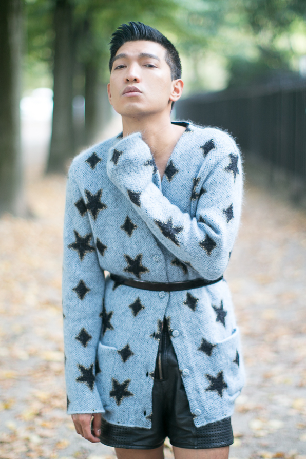 Saint Laurent Star cardigan worn by fashion blogger Bryanboy in Paris