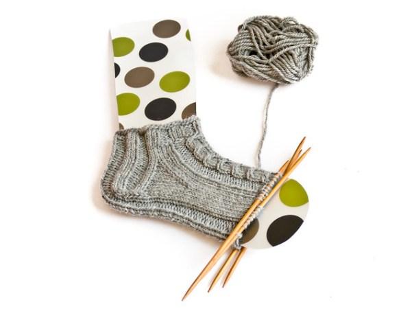 Short aran weight sock with cables in drops alaska