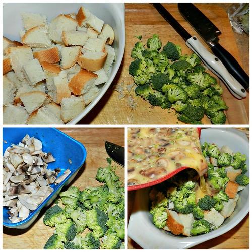 Broccoli Mushroom Cheese Strata