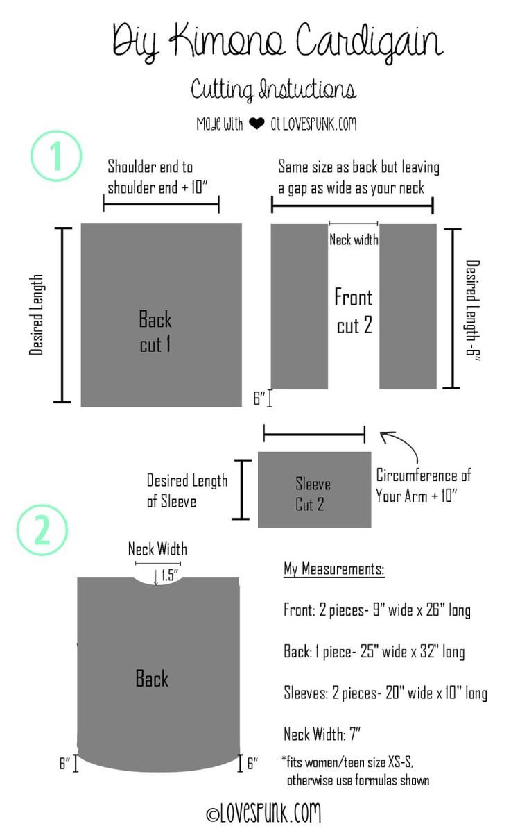 DIY Kimono Cardi Steps 1 & 2