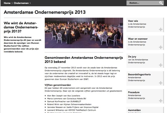 Announcement Nominees Ondernemersprijs 2013 City of Amsterdam