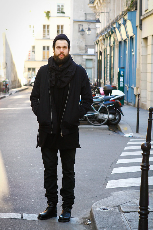 Tuukka13 -  WDYWT - Nicolas Andreas Taralis Boots and Jeans, Damir Doma SILENT Cardigan and Rick Owens MA-1 Bomber Jacket in Marais, Paris -2