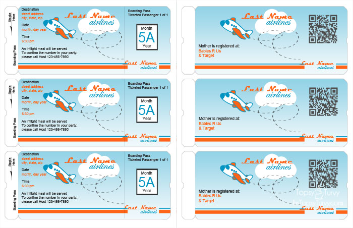 Airline Ticket Invitation Template Free \u2013 diabetesmanginfo